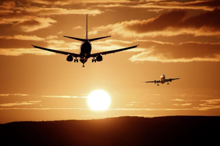 Plane, Flight, Sunset, Sun, Sunlight, Silhouette