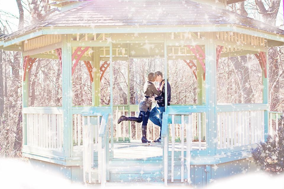 1080p Girl Wallpaper Free Photo Couple Kissing Gazebo Winter Free Image