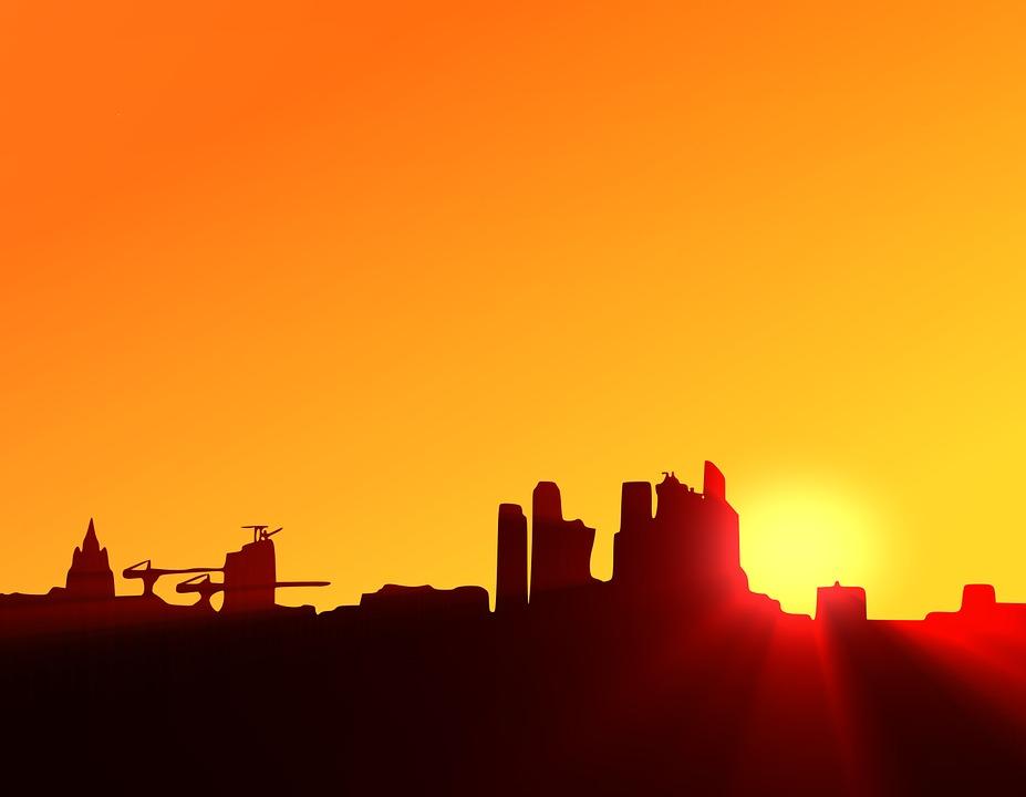 Sea Sunset Wallpaper Hd Free Illustration City Sunset Silhouette Urban Free