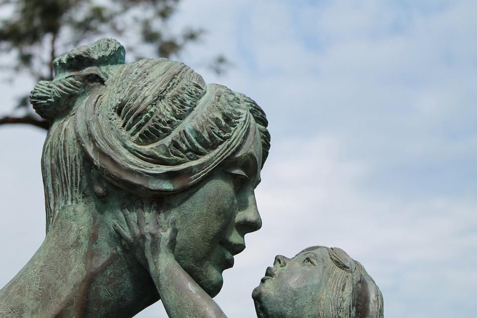 Mama, Copil, Sculptură, Figura, Familie, Coeziune