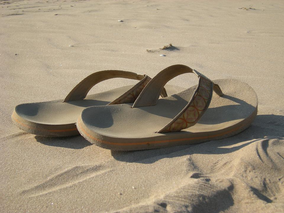 Flip Flops, Sandals, Beach, Sand, Vacation, Summer