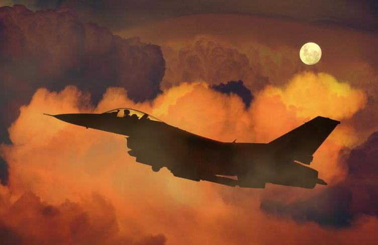 Air Plane, Fighter, F-16, Night Sky, Moon, Clouds