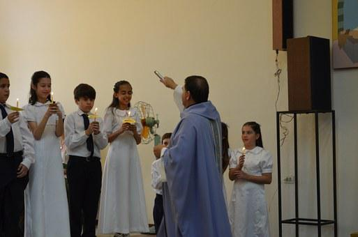 Blessing, Communion, Priest, Mass, Boys
