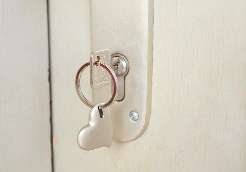 キー, 城, 心, キーチェーン, 閉じる, ドアの鍵, 近くに, オープン
