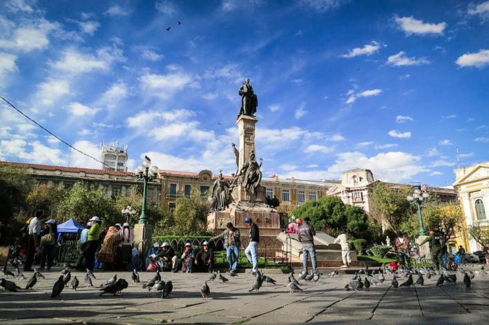 La Paz, Bolívia, Marco, Monumento, Estátua, Pessoas