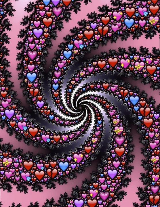 Ilustrasi gratis Emoji Hati Spiral Fraktal  Gambar