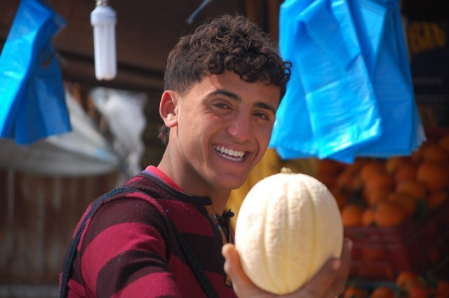 Tunísia, Melão, Garoto, Mercado, Vendedor, Fruta