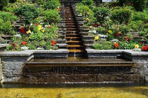 Garden, Water, Fountain, Nature, Flowers