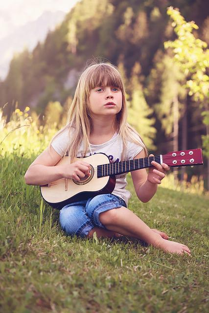 Attitude Girl With Guitar Wallpapers Free Photo Person Human Child Girl Blond Free Image