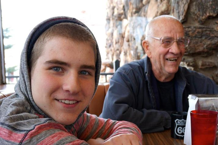 Cafe, Grandfather, Grandson, Family, People, Persons