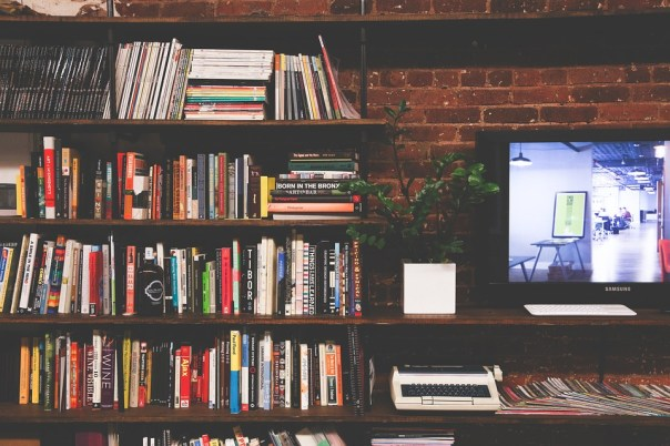 Library, Books, Tv, Multimedia, Room, Modern, Interior
