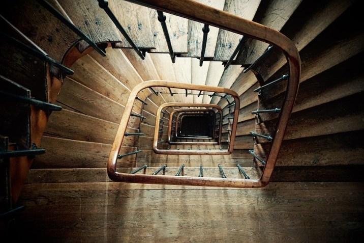 らせん階段, 木, 深い, アーキテクチャ, 森の中, 建物, 塔