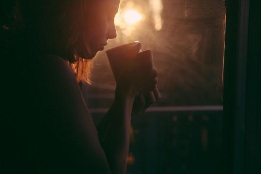 Ragazza, Bere, Tè, Tazza Di Caffè, Tramonto