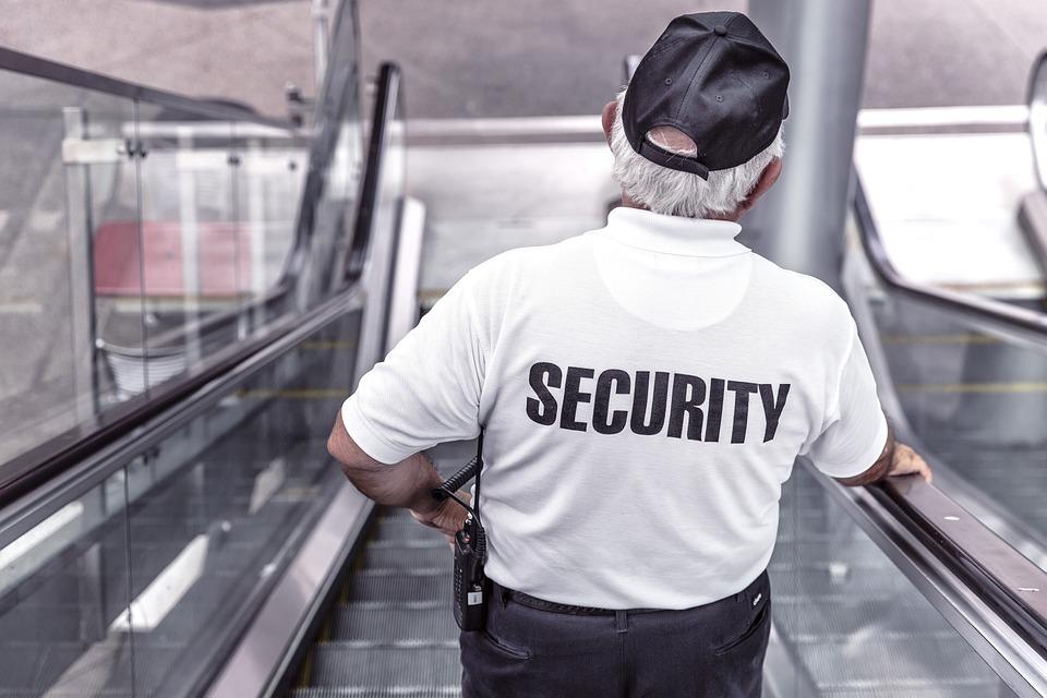 Security, Man, Escalator, Police, Guard, Officer