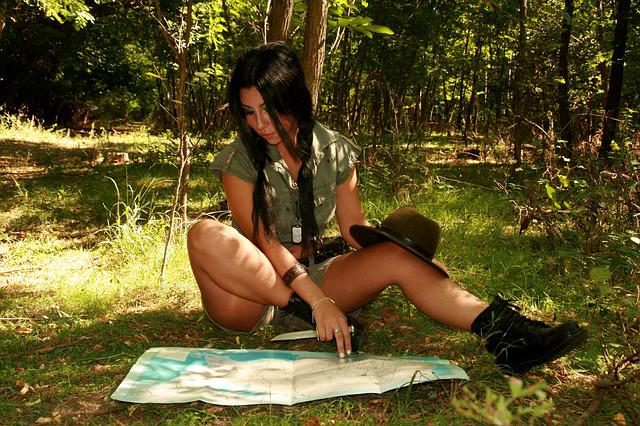 Free photo Girl Explorer Map Forest Jungle  Free