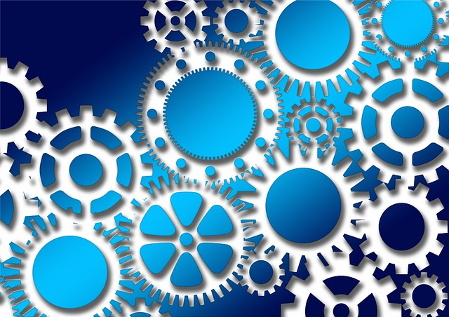 Blue Wallpaper Hd Free Illustration Gears Cooperation Transmission Free