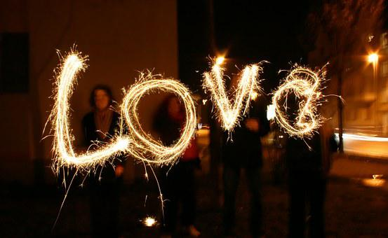 Love, At Night, Evening, Mood, Sparklers