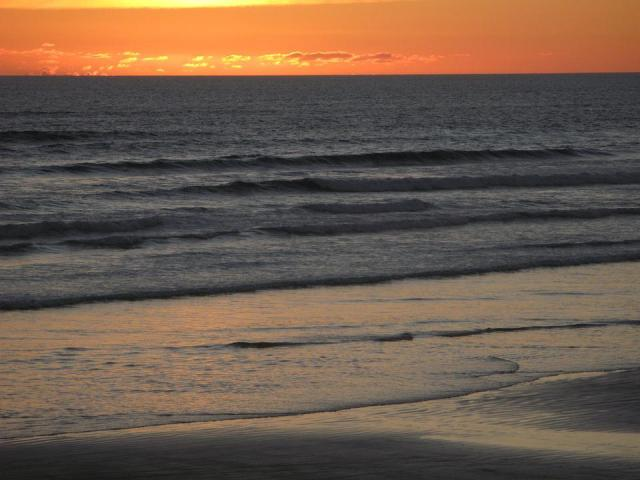 Sunset, Ninety Mile Beach, Beach, New Zealand, Orange
