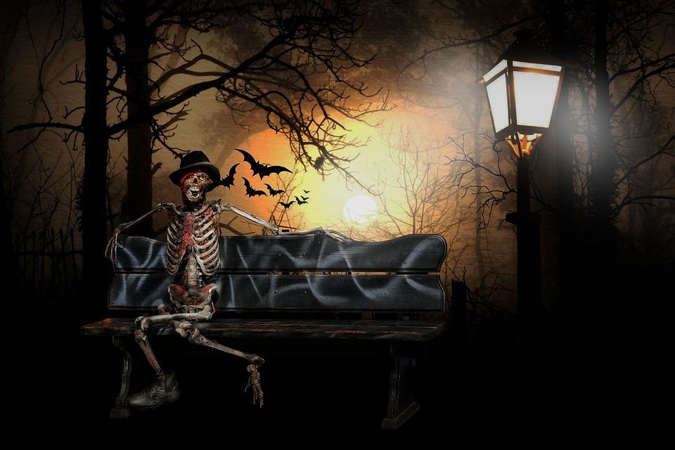 Black Cat Fall Wallpaper Free Illustration Surreal Halloween Skeleton Bat