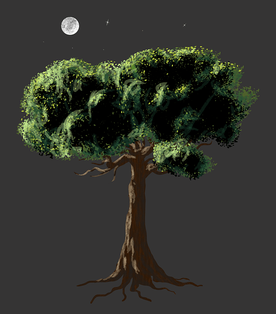 Free Vector Graphic Vector Art Realistic Tree Moon