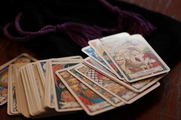 tarot cards on velvet bag the lovers occult