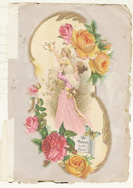 Free Illustration Greeting Card Vintage Rose Old