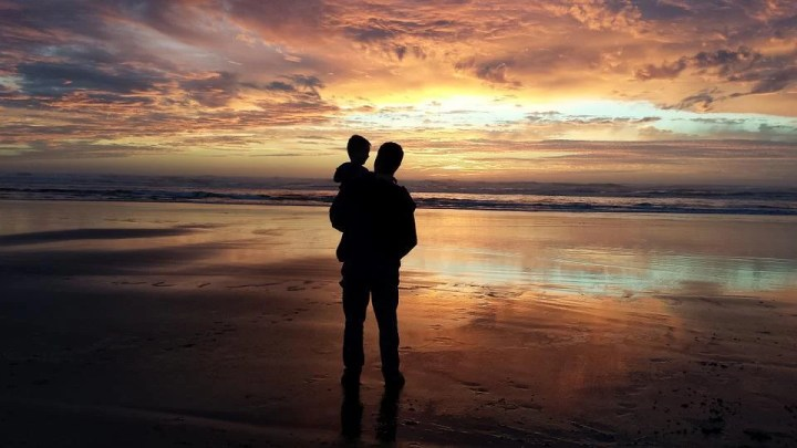 Father, Son, Grandson, Man, Child, Sunset, Beach, Water