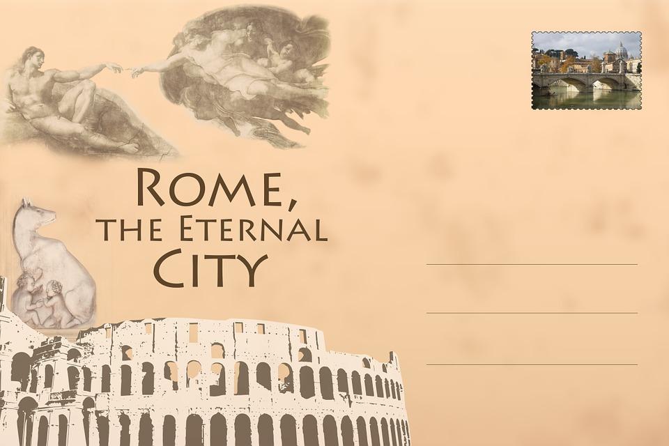 Free Illustration Postcard Rome Colosseum Free Image