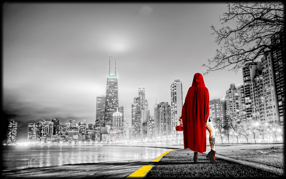 Blue Fall Wallpaper Free Photo Women City Urban Red Riding Hood Free