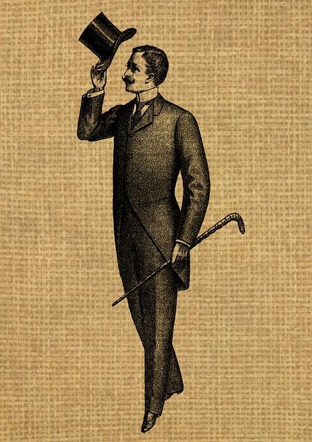 Free Illustration Vintage Man Gentleman Hat Suit