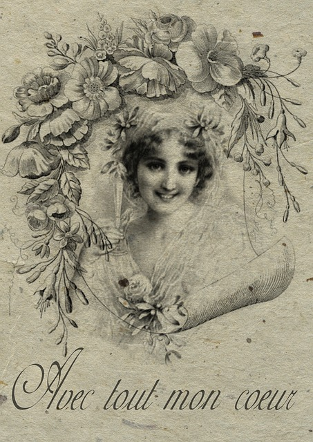Free Illustration Vintage French Collage Bride Free