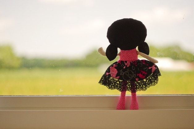 Doll, Looking Out, Pink, Black Hair, Farm, Window