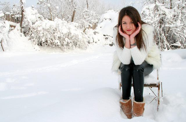 Snow Falling Gif Wallpaper Free Photo Girl Snow Chair White Feerie Free Image