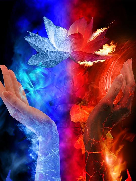 Free Desktop Wallpaper Beautiful Girl And Boy Fairies Fire Ice Hand 183 Free Image On Pixabay
