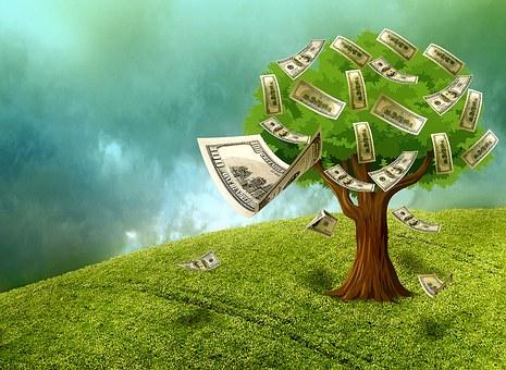 現金, お金, 富, 資産, 金のなる木