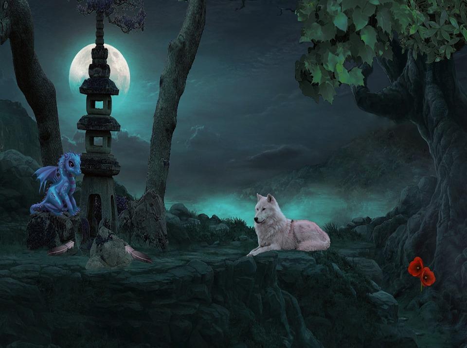 Free Desktop Wallpaper Beautiful Girl And Boy Fairies Fantasy Wolf Moon Baby 183 Free Image On Pixabay