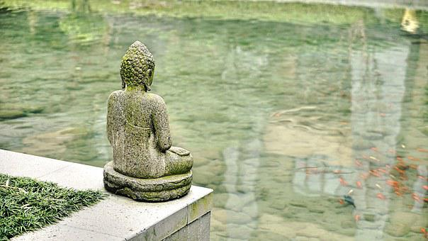 Buddha, Statue, Pond, Sculpture, beginner's guide to Zen living.