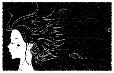 Fairy Tale, Night, Girl, Fish, Sky, Bird
