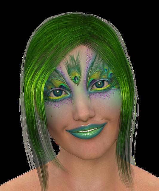 Free Illustration Woman Hair Green Lips Friendly