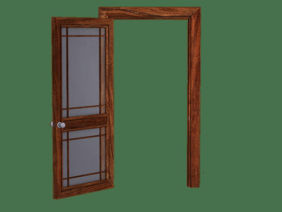 door open wooden glass
