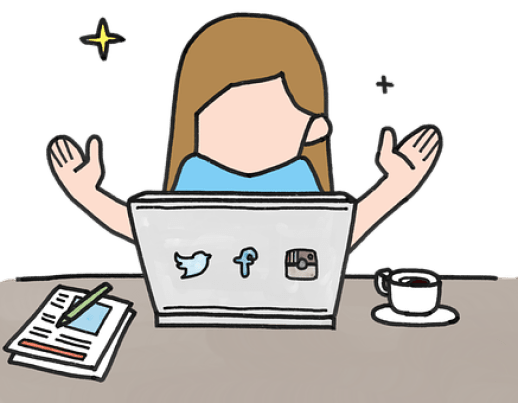 Drawing of a woman with arms outstretched before a laptop between a cup of coffee and wriiting materials