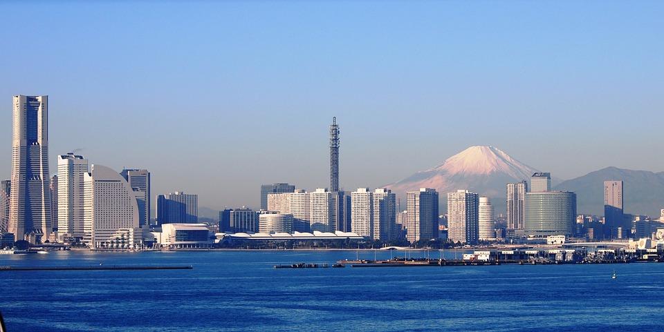 富士山, 横浜, ベイブリッジ, 冬, ランドマークタワー, 高速道路, 神奈川県, 日本, 青空, 青