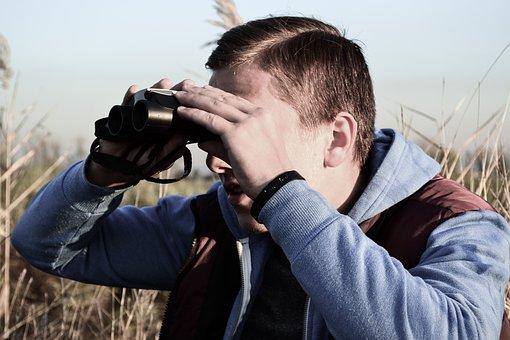 Binocular, Spying, Looking Forward, Male