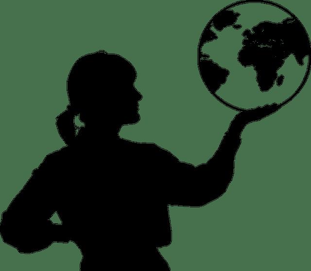 Free vector graphic Female Globe Hand Silhouette