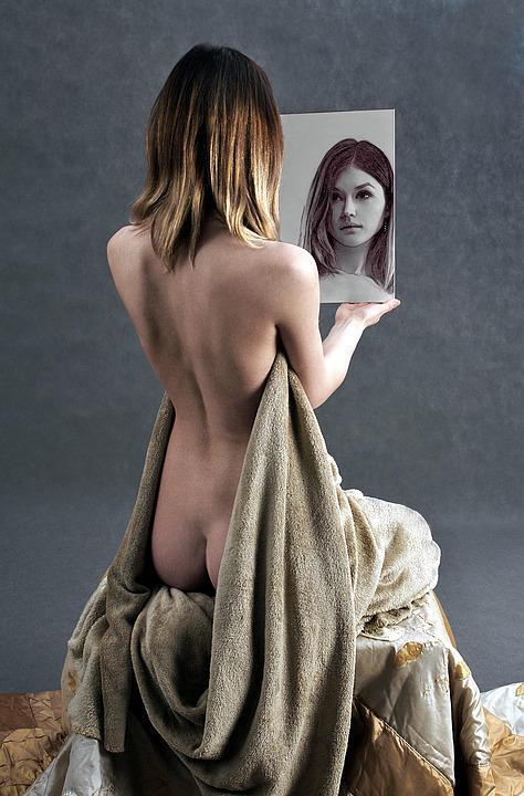 Free photo Girl The Act Of Mirror Portrait  Free