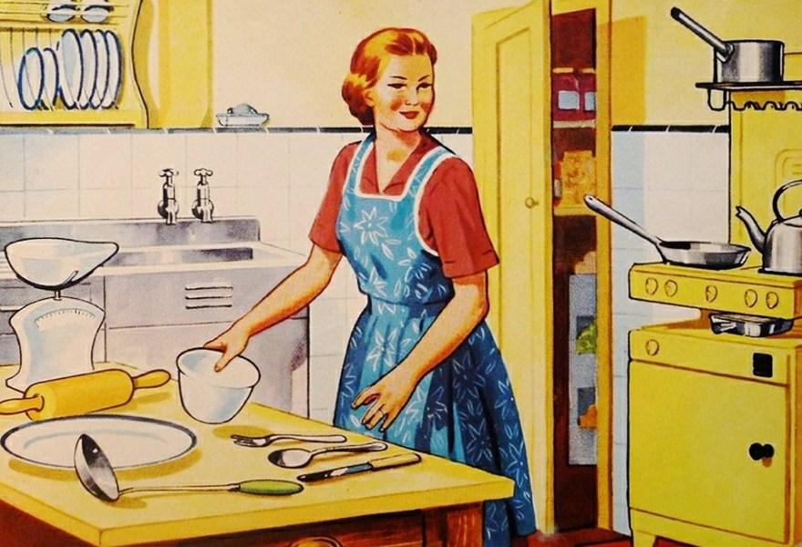 レトロ, 主婦, 家族, 料理, キッチン, 妻, 女性, ビンテージ, スタイル, 美しい, ヘアスタイル