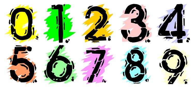 Numbers, Numbering, School, Kids, Set