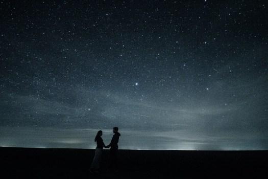 Coppia, Amore, Stelle, Abbraccio, Romanticismo, Notte