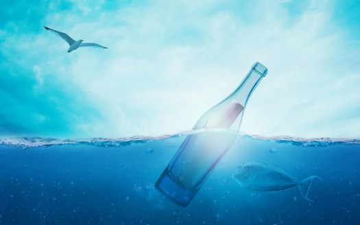 Mare, Messaggio In Una Bottiglia, Naufragato, Messaggio