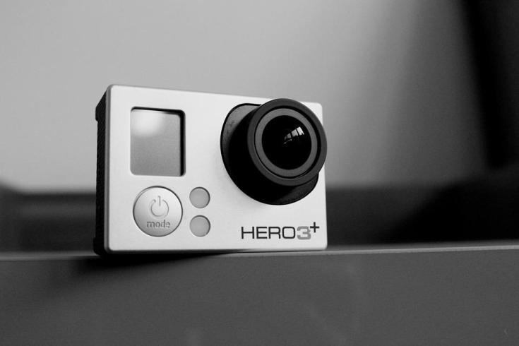 Black and white photo of a GoPro